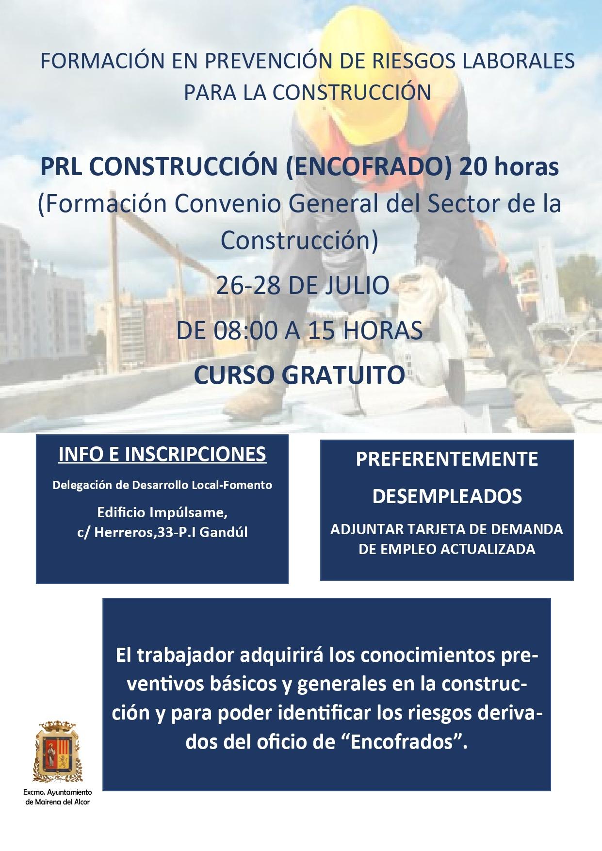 ¡ULTIMAS PLAZAS! del curso de prevención de riesgos laborales para la construcción encofrado 1